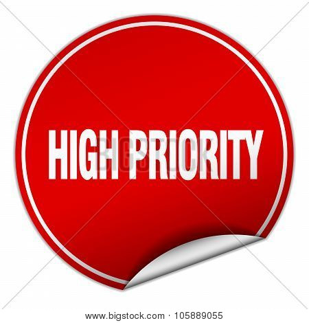 High Priority Round Red Sticker Isolated On White