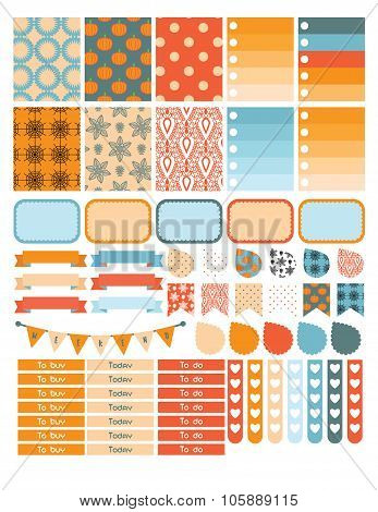 Autumn planner sticker set for a week.