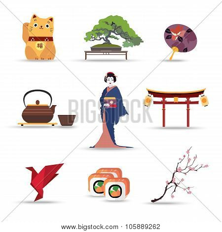 Set of Japan isolated travel colorful flat icons.