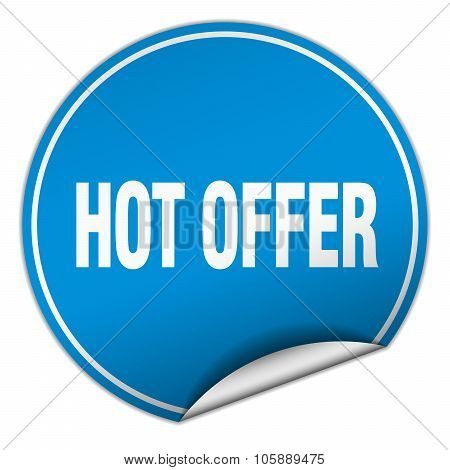 Hot Offer Round Blue Sticker Isolated On White