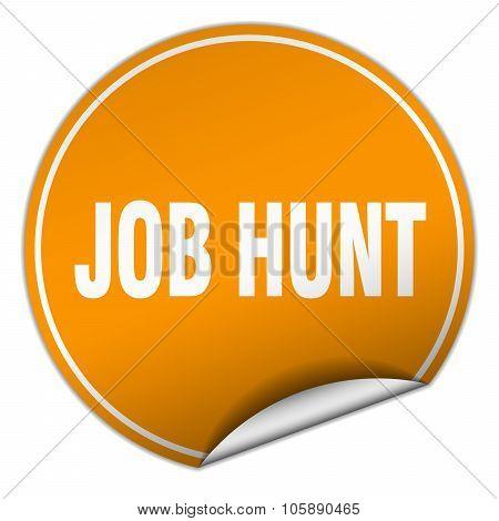 Job Hunt Round Orange Sticker Isolated On White