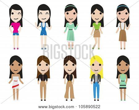 Casual Set Woman Characters With Long Hair In Flat Style