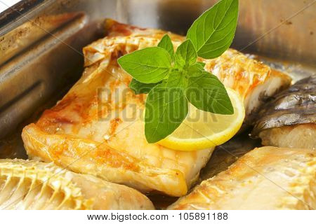 detail of roasted carp fillets in baking tin