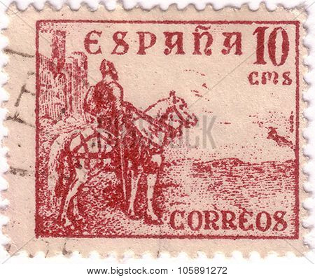 Spain - Circa 1936: A Stamp Printed By Spain, Shows Knight, Circa 1936