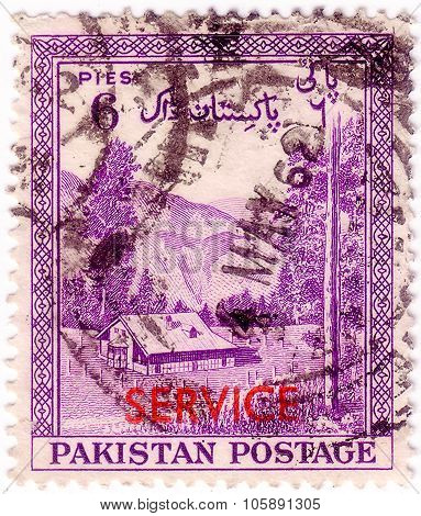 Pakistan - Circa 1954: A Stamp Printed In Pakistan Shows The Valley Kagan, District Hazara, Circa 19