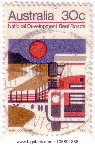 Australia - Circa 1970: A Stamp Printed In Australia Illustrating National Development Projects, Bee