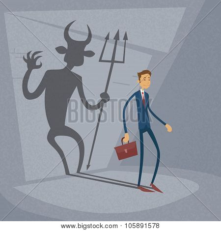 Businessman With Demon Shadow Wall Behind Business