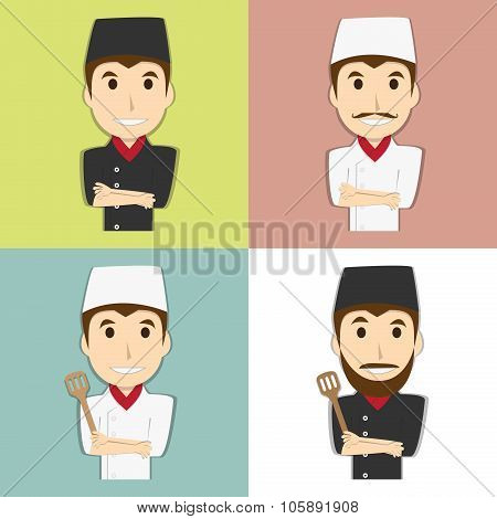 Happy Chef Master With Mustache And Beard