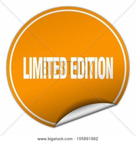 Limited Edition Round Orange Sticker Isolated On White
