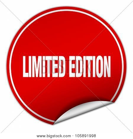 Limited Edition Round Red Sticker Isolated On White