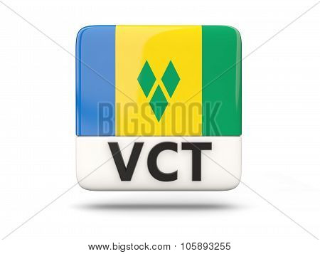Square Icon With Flag Of Saint Vincent And The Grenadines