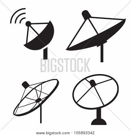Set Of Silhouette Satellite Dish Icon