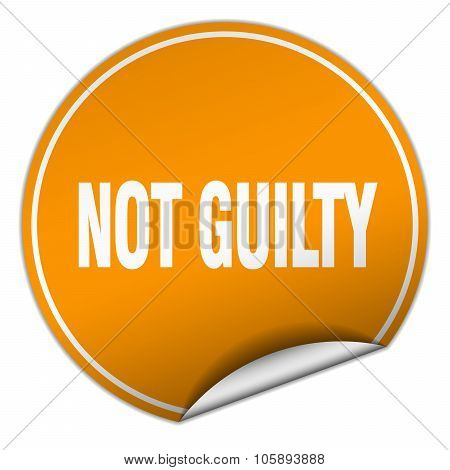 Not Guilty Round Orange Sticker Isolated On White
