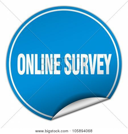 Online Survey Round Blue Sticker Isolated On White