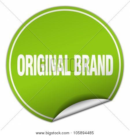 Original Brand Round Green Sticker Isolated On White