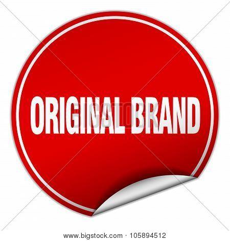 Original Brand Round Red Sticker Isolated On White