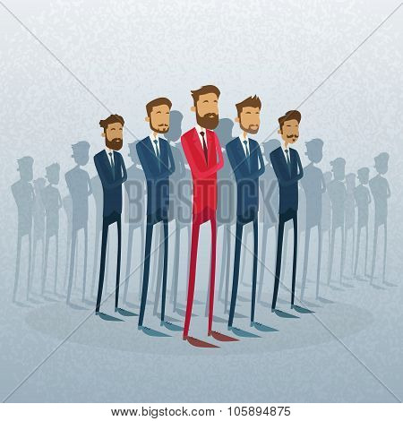 Red Businessman Leader Stand Crowd Individual With People Group Business Team