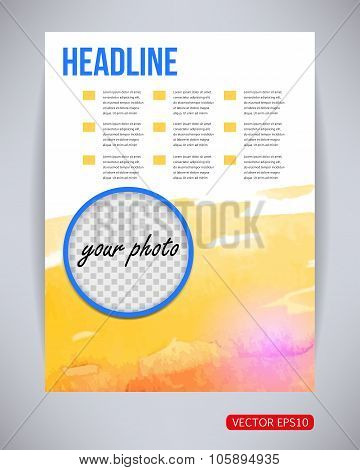 Vector flyer, poster template with watercolor paint pink and yellow splash and drops with photo