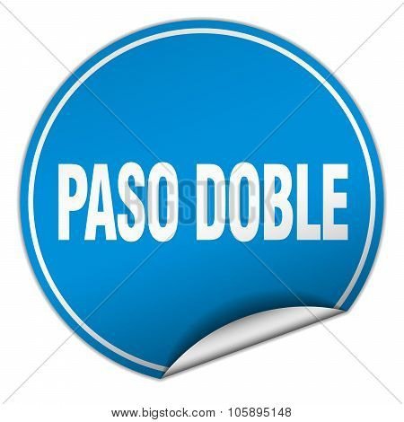 Paso Doble Round Blue Sticker Isolated On White