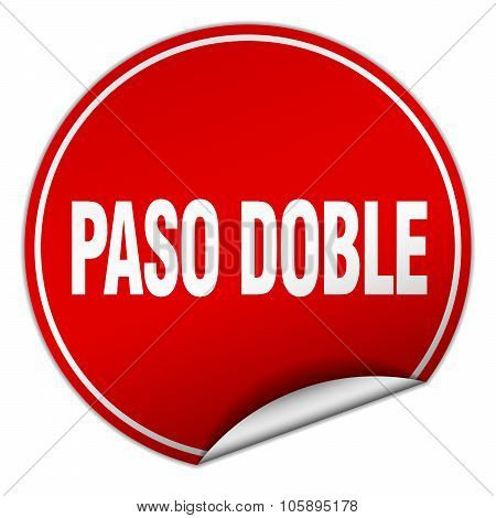 Paso Doble Round Red Sticker Isolated On White