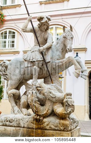 Fountain Of St. George And The Dragon In Bratislava