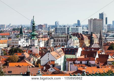 Bratislava Town Skyline With Tower Of Michael Gate