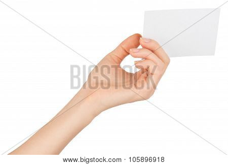 Womans left hand offering small empty card