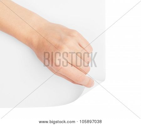 Hand turning blank page corner