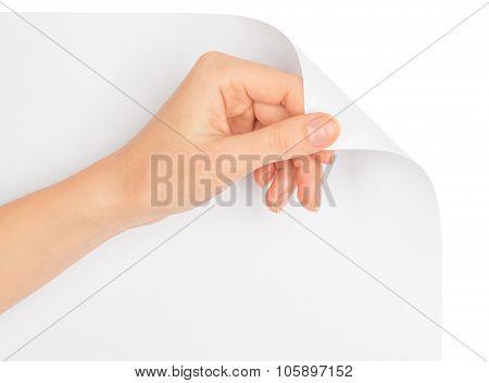 Hand turning empty page corner