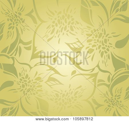 Green floral decorative holiday background