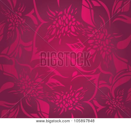 Red floral holiday background with ornaments