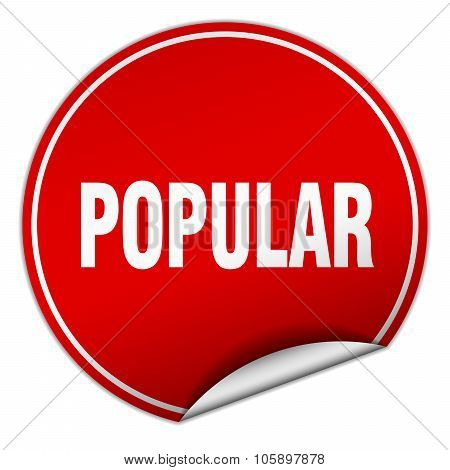 Popular Round Red Sticker Isolated On White