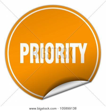Priority Round Orange Sticker Isolated On White
