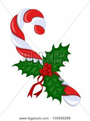 Candy Cane With Holly Berries