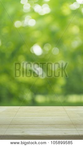 Empty Table And Blurred Tree Bokeh Background For Your Product Display Montage