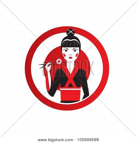 Cute Asian Girl Character on black kimono holding sushi with chopstiks. Round logo of sushi bar.