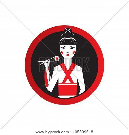 Oriantal femme fatale in black kimono with a traditional Japanese makeup eating sushi.