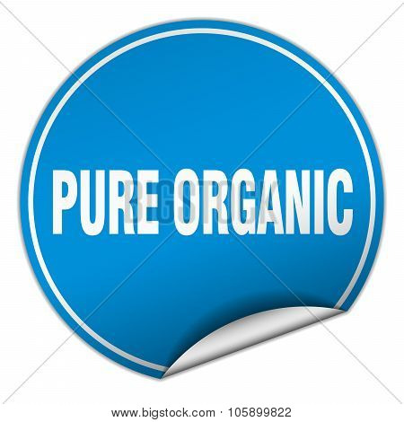 Pure Organic Round Blue Sticker Isolated On White