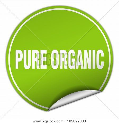 Pure Organic Round Green Sticker Isolated On White