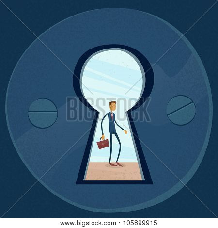 Keyhole Businessman Concept View Through Door Hole