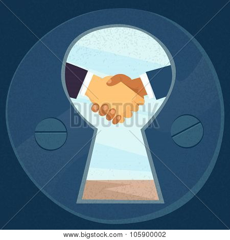 Handshake View Through Keyhole Business Hands Shake