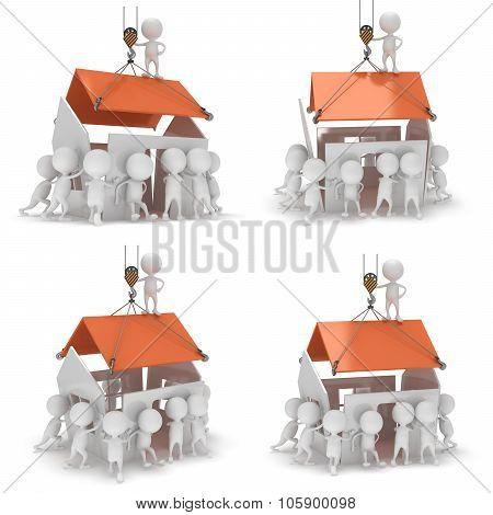 3D Construction Men Building A House.
