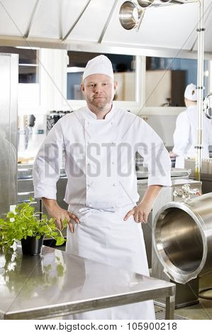 Professional chef standing in large kitchen