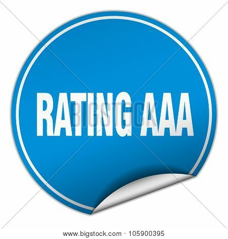 Rating Aaa Round Blue Sticker Isolated On White