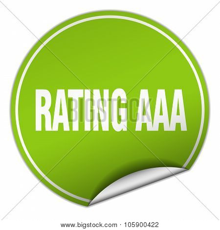 Rating Aaa Round Green Sticker Isolated On White
