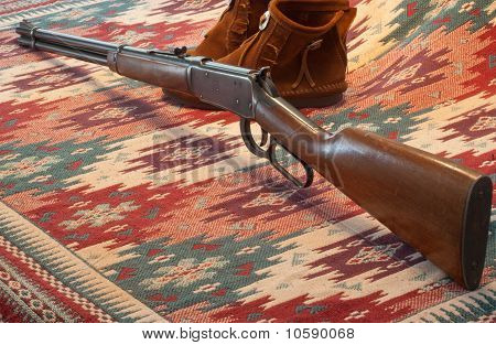 Western Rifle Moccasins And Indian Blanket