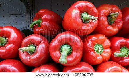 Stacks of capsicum in a tray