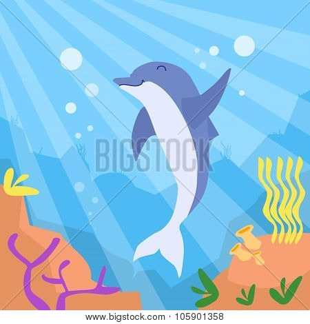 Cartoon Dolphin Underwater Deep Ocean Bottom Coral Reef Colorful