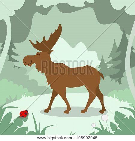Cartoon Elk Green Forest Colorful Flat Retro
