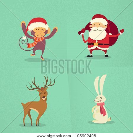Santa Claus Monkey Rabbit Deer Happy Standing New Year Christmas Holiday